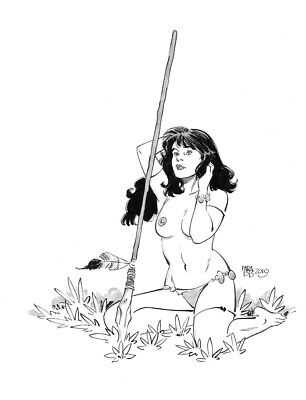 Sexy Jungle Girl original   pin up art  by Paradis