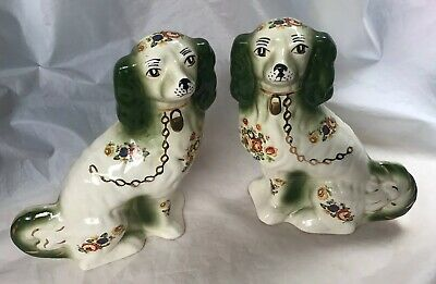 Rare Antique Vintage Pair of Staffordshire Floral Green Lustre Dogs 23cm High