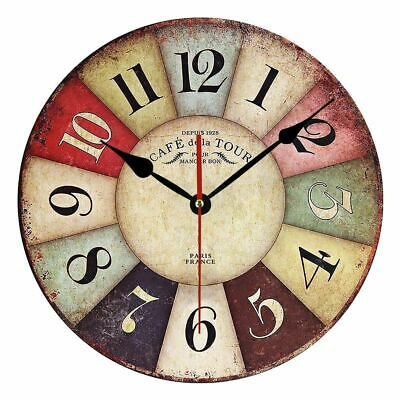 Wooden Wall Clock Modern Design Vintage Rustic Shabby Home Office Cafe Decor