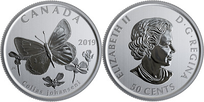 2019 Colias Johanseni 50-cent Coin Canada's Wildlife Treasures Butterfly