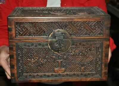 "12"" China Huanghuali wood Hand carved Plum blossom Jewelry Box storage box Boxes"