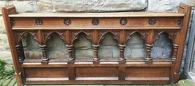 Antique Church Pew Rail Solid Oak Carved Rail Two Available