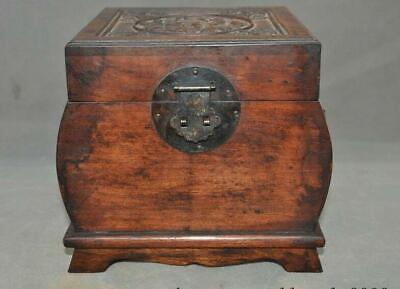 """8"""" old Chinese Redwood wood Hand carved dynasty fish lotus Storage box case"""