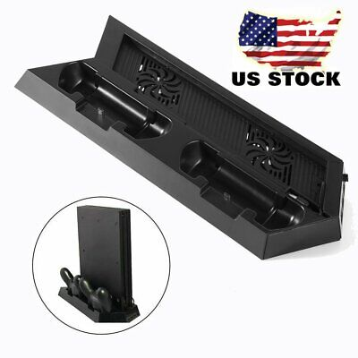 Vertical Stand & Cooling Fan 2 Controller Charging Dock Station For PS4 MY