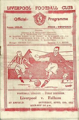 LIVERPOOL v FULHAM 1949/50 - DIVISION ONE MATCHDAY PROGRAMME - 15/04/1950