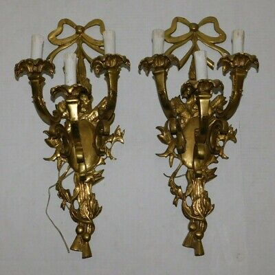 Vintage Pair Sconces Gilt Cast Brass French Dore Rococo Ribbon Wall Mount