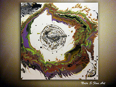 """Abstract Acrylic Pour Painting Contemporary Large Artwork 30"""" x 30""""  by Nata S."""
