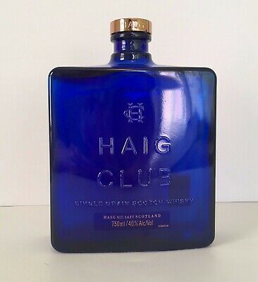 HAIG CLUB Single Grain Scotch Whisky Cobalt Blue Glass Bottle (Empty) with Cap