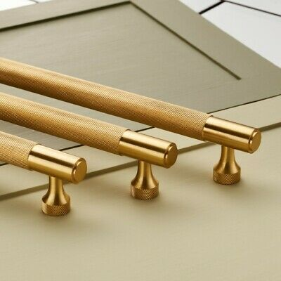 Solid Brass Gold Knurled Door And Drawer Bar Handles Pulls Different Sizes
