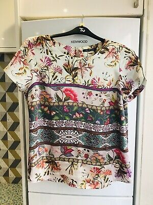 marks and spencer Ladies Pink Mix Top Size 14 Immaculate