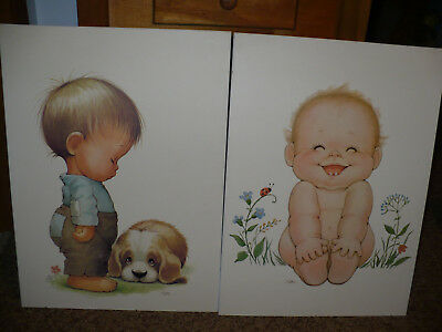 Two Adorable Baby Toddler Kid Wood (MDF) Wall Art Bedroom Nursery Decoration