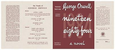 Facsimile Dust Jacket ONLY George Orwell Nineteen Eighty Four 1st Edition 1984