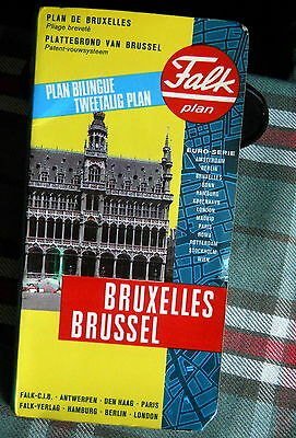 """Vintage """"Falk Plan"""" folding book map of the City of Brussels 1980's"""