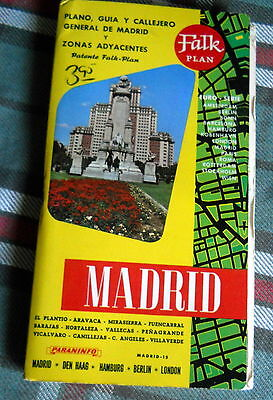 """Vintage """"Falk Plan"""" folding book map of the City of MADRID 1980's"""