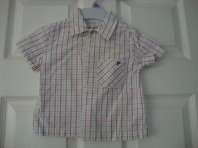 Polarn O.Pyret Boys White Check Short Sleeve Shirt size Eur 74 (9 months)