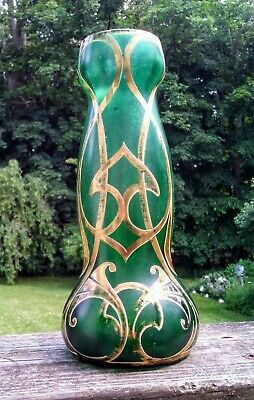 Hand Blown Art Nouveau Moser Gold Gilded Jugendstil Emerald Green Bohemian Czech