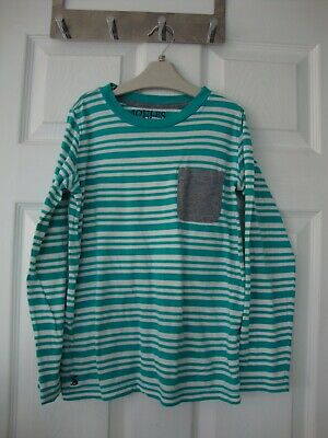 Joules Boys Green Striped Lon Sleeve Top size S