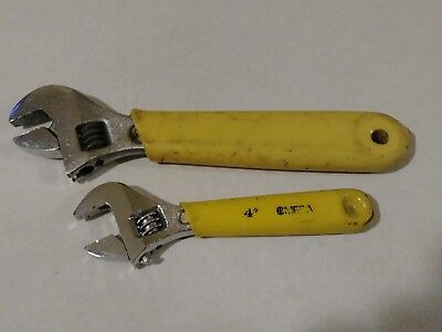 """2 Vintage Omega Tools Adjustable Wrenches 4"""" & 6"""" Yellow Rubber Handles"""
