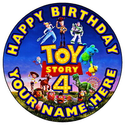 """Toy Story 4 Fun Party - 7.5"""" Personalised Round Edible Icing Cake Topper (1)"""
