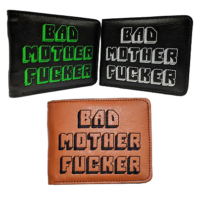 BAD MOTHER WALLET  BMF  Embroidered Black Leather Wallet As Seen In PULP FICTION