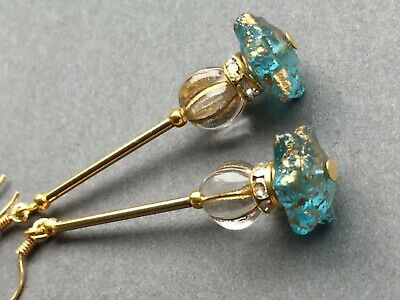 Art Deco vintage style czech glass  + rhinestone gold filled earrings