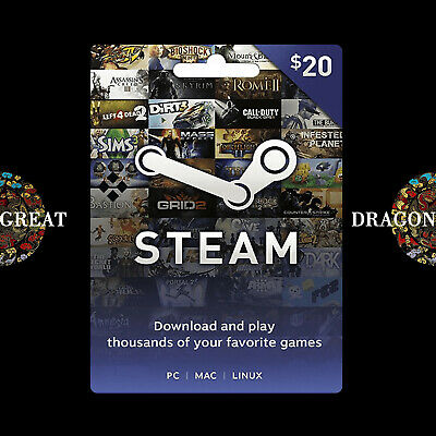 $20 Steam Gift Card - Steam Wallet Prepaid Card - Global Activate
