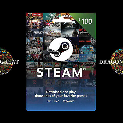 $100 Steam Gift Card - Steam Wallet Prepaid Card - Global Activate