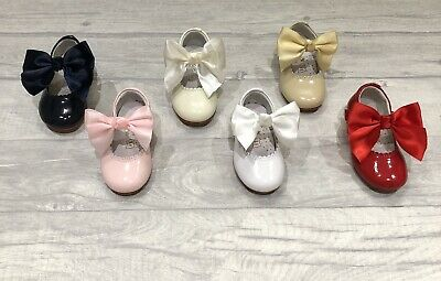 9dd0030a5 Girls Spanish Leather Shoes Bow Navy Pink Beige White Camel Red **SMALL FIT*