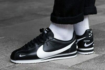 MENS NIKE AIR Classic Cortez Premium Sneakers, Black White