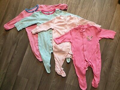 Bundle of baby girls sleepsuits grows x 6 Age 0-3 Months