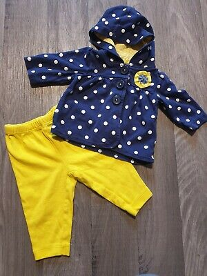 Cute Baby Girls 2 pc Matching Carters set Age 0-3 Months Jacket and Trousers
