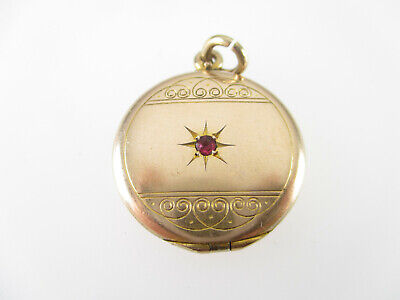Gold Double Medaillon Anhänger Rubin Jugendstil Art Deco Vitage medallion