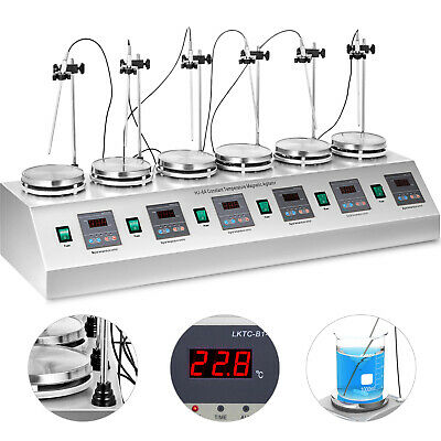 6 multi-unit magnetic stirrer heating plate digital mixer heating plate control
