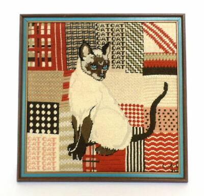 Siamese Cat Needlepoint Completed Crewel Vtg 70's Rust Brown Wool Framed or Not