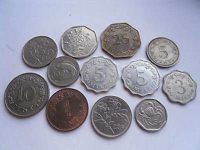 Malta, 12 Coins, Good Condition as shown.