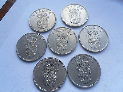 Denmark, 7 - One Krone Coins, as shown, in Good Condition.