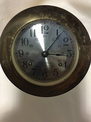 Vintage Seth Thomas Brass Maritime Ship's Bell Clock 1004 CORSAIR-W E537-000