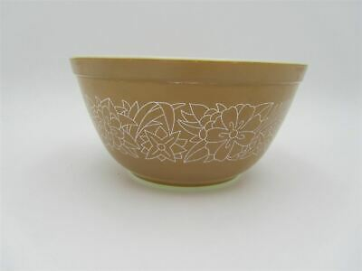 Pyrex 402 Woodland Mixing Bowl White Inside Brown Pattern Outside Vintage 1970's