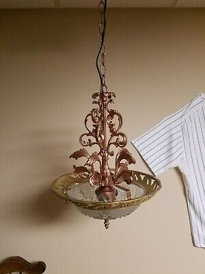 Vintage Chandelier Brass/Copper Deco Ceiling Hanging Light Fixture (Refurbished)