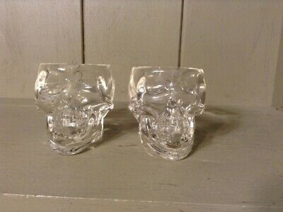 New Skull Shot Glasses Set Of 2 Heavy Glass New!