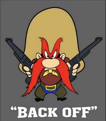 (2) YOSEMITE SAM BACK OFF VINYL STICKERS CAR WINDOW 4x3.5 DECAL