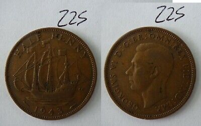 1943 George VI British Half Penny Old Coin 225