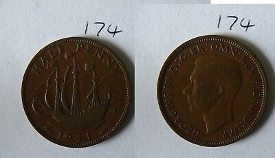 1941 George VI British Half Penny Old Coin 174
