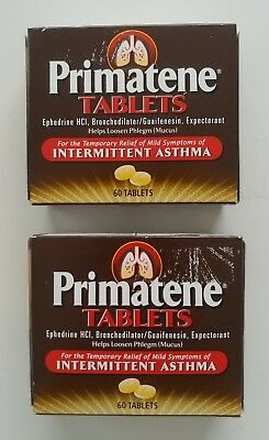 LOT OF 2 Boxes Sealed Primatene 120 Tabs Asthma Relief Bronkaid COPD - FRESH