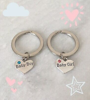 Baby Girl Baby Boy Heart Keyring Baby Shower Favours Mum Dad New Baby Gift