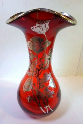 """Vintage RUBY RED GLASS VASE with SILVER OVERLAY POPPIES Design 6.75"""" Tall"""