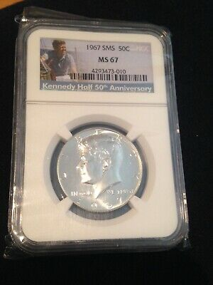 1967 Kennedy Half Dollar Sms Ngc Ms 67 Anniversary 50Th Coin Unc 40% Silver