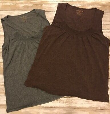 Eddie Bauer Womens XL Extra Large Brown/grey Tank Top Lot Of 2