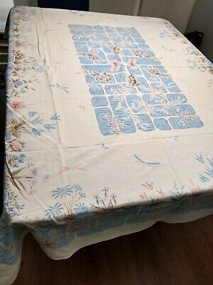 LARGE Vintage KITCHEN Tablecloth  BLUE PINK FLOWERS CUTTER? SIMTEX MADE IN AMER