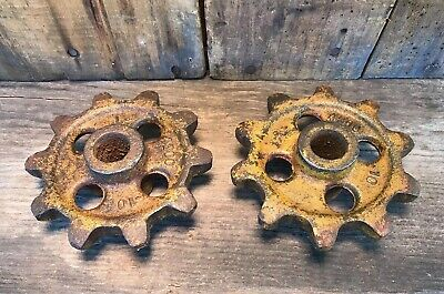 Lot of 2 Matching Antique Cast Iron Gears ~Vintage Cast Iron Gears